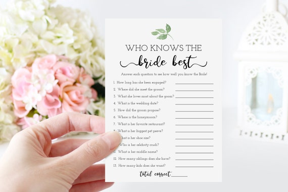 Who Knows the Bride Best Bridal Shower Game, Green Foliage Tempolate, Greenery Design, 100% Editable, Templett PPW0480