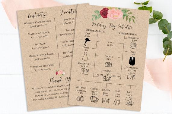 Wedding Party Timeline, Floral Design, Pink Red Flower, Bridesmaid, Groomsmen Details, Instant Download 100% Editable, Templett PPW0230