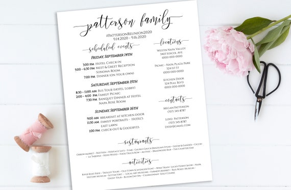 Event Itinerary & Details, Family Reunion Weekend Printable, Work Event Plan, Team Building Schedule, 100% Editable PPW0550 Grace