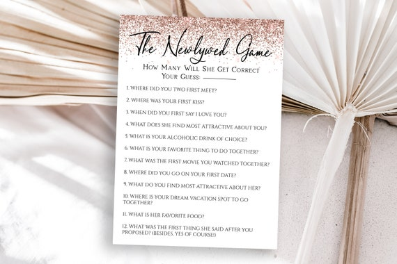 Rose Gold Glitter The Newlywed Game Template, Bachelorette Party Bach Weekend Activity, Bridal Shower Activity PPW90 PPW92