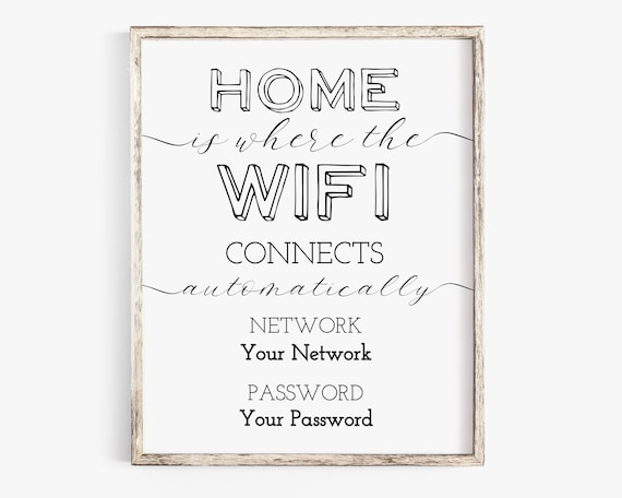 WIFI Password Printable, Wifi Password Sign, Home Internet Sign, Guest Room Sign, Instant Download 100% Editable, Templett PPW0235