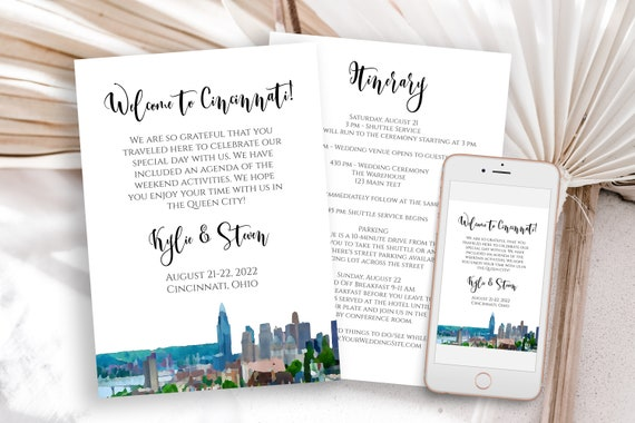Cincinnati Wedding Welcome Card and Itinerary, Out of Town Guest, Wedding Schedule, Timeline Card. Wedding Printable, Editable  PPW71