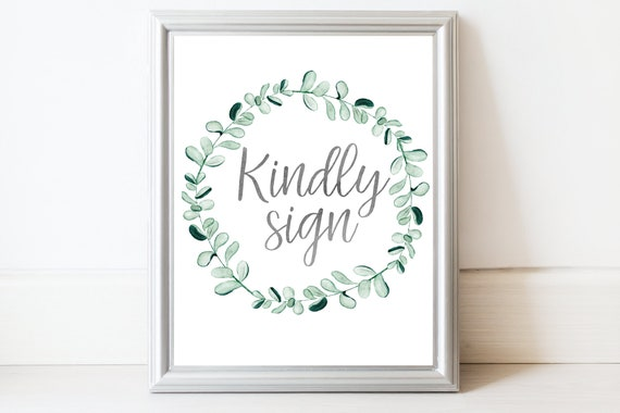 Silver Greenery Kindly Sign Printable, Bridal Shower Template, Guest Book Alternative, Baby Shower, Instant Download 135S