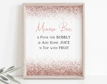 Mimosa Drink Instruction Sign, Wedding, Bridal Shower, Table Top Sign, Rose Gold Glitter, Bar Menu Corjl PPW90 PPW92
