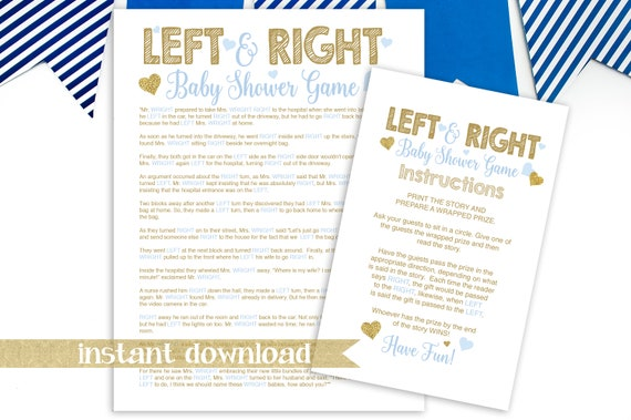 Gold Glitter Left Right Story Game ~ Blue and Gold Baby Shower ~ Baby Boy Hearts ~ Printable Game 5GL_BG