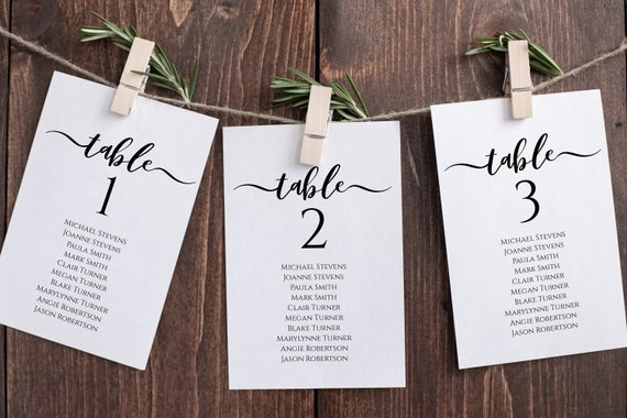 Wedding Table Seating Cards, Pos, Elegant Calligraphy, Seating Chart Display 100% Editable Template, Templett PPW0575