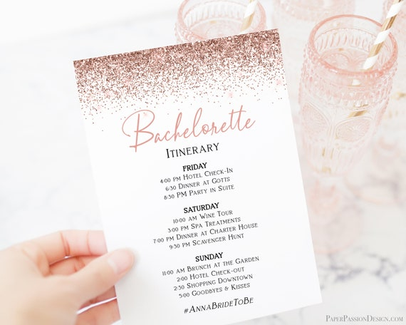 Bachelorette Weekend Itinerary, Hen Party Order of Events, Bridal Shower Schedule, Rose Gold Glitter, Details Card, Corjl PPW90