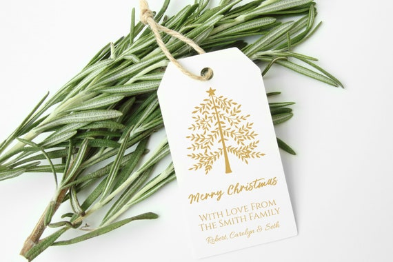 Personalized Gold Christmas Tree Gift Tag, Printable Holiday Label, Gift Tag Template Label, Corjl PPC-19