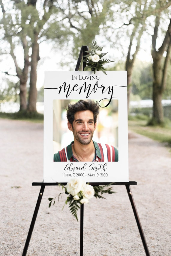 Memorial Sign, Celebration of Life Welcome Picture, Funeral Collage of Pictures, Easel Display Sign, Editable Corjl Template PPF550
