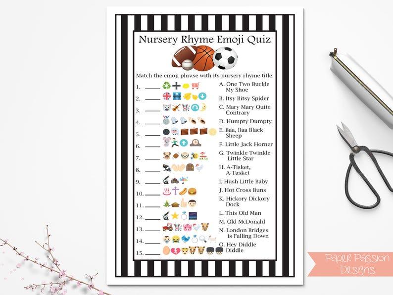 Emoji Nursery Rhyme Quiz, Sport Theme, Football, Baseball, Soccer,  Basketball, Referee Stripe, Baby Shower Printable 50Sport