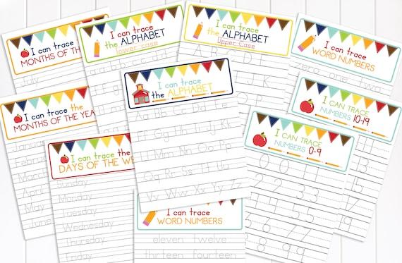 Tracing Worksheet, Preschool Activity, Educational Tool, Handwriting Practice, Homeschool, Alphabet, Numbers, Months, Weekdays