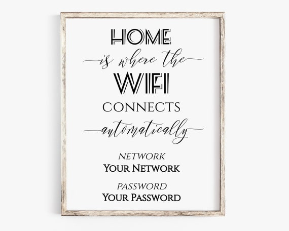 Welcome WIFI Password Printable, Wifi Password Sign, Home Internet Sign, Guest Room Sign,  Instant Download 100% Editable, Templett PPW0550