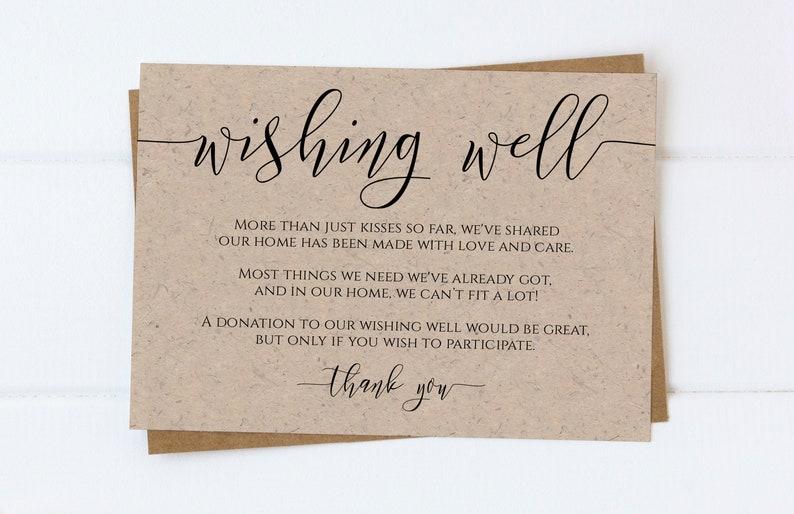 Wishing Well Enclosure Card Wedding Invitation Card image 0