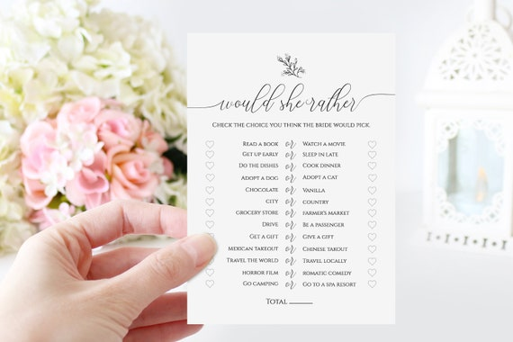 Wedding Bridal Would She Rather Game Template, Bridal Shower Game, Rustic Modern Elegant Design, 100% Editable, Templett PPW0560