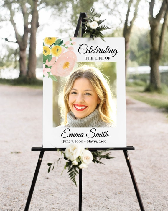 Memorial Photo Sign, Celebration of Life, In Loving Memory Funeral Welcome Sign, Pink and Yellow Floral, Corjl Template PPF232