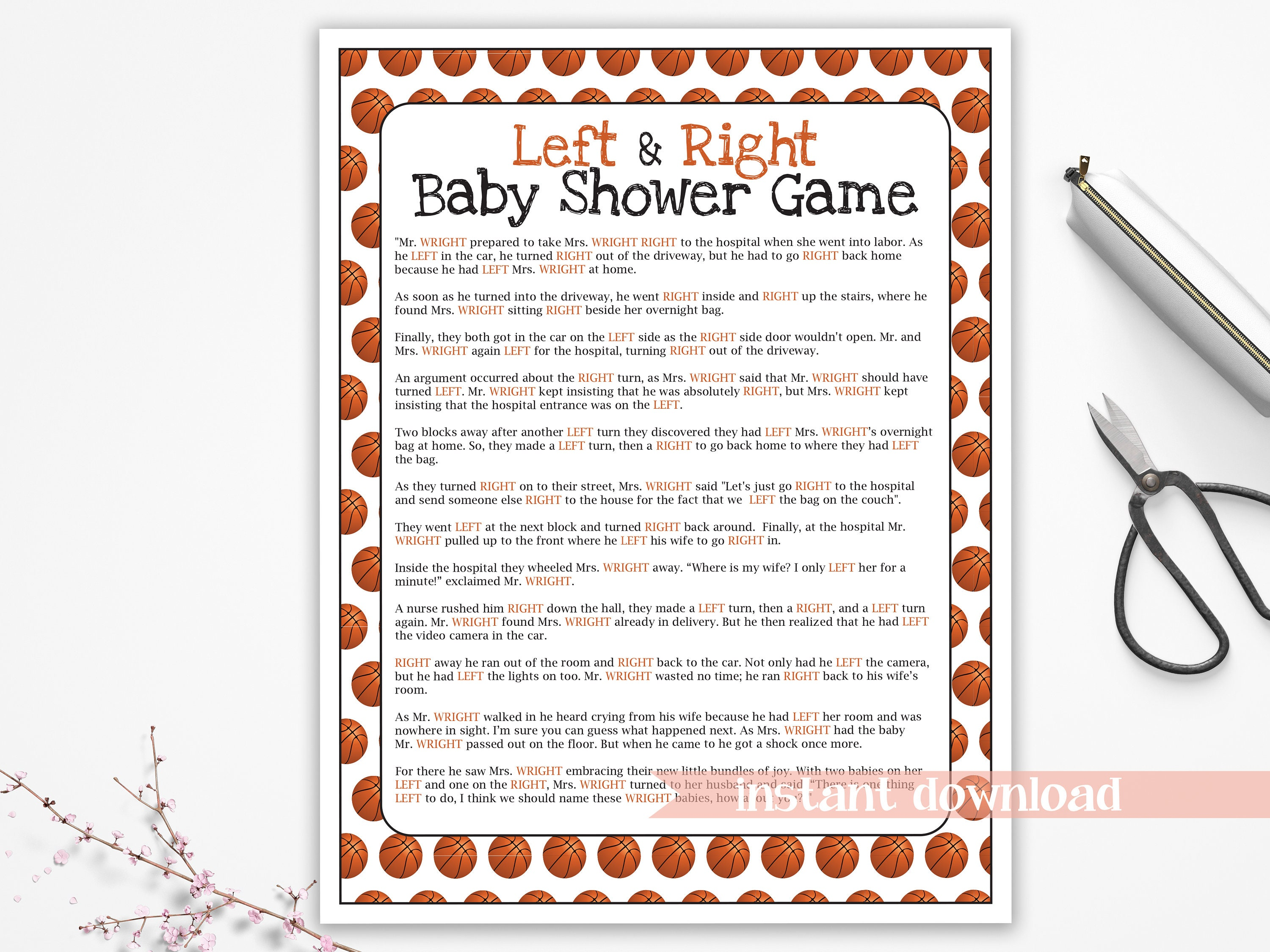 Basketball Theme Baby Shower, Left and Right Game, Sport