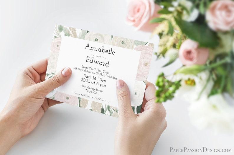 Wedding Invitation Template Boho Invite Design  Pink & White image 0