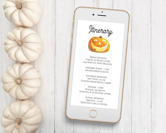 Pumpkin Itinerary, Schedule of Events, Harvest Event Announcement, Electronic, Email Itinerary, Editable Text, Corjl 2021B-HALLOWEEN