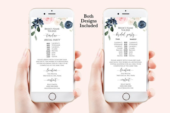 Blush Wedding Party Hair & Makeup Timeline, Electronic Itinerary, Evite, Digital, Text Message, Pink Navy Floral Editable, Corjl OLEA PPW265