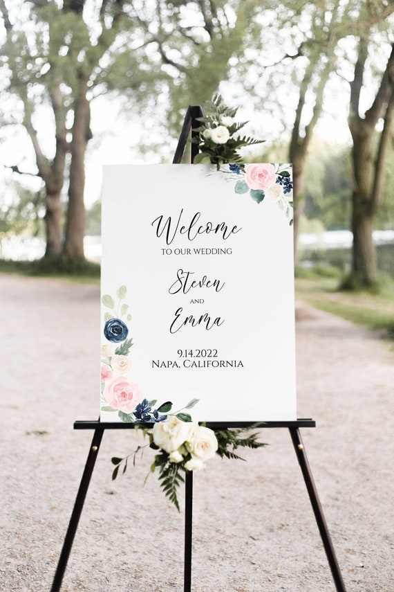 Welcome Wedding Sign, Large Easel Sign Template, Wedding Welcome Editable PPW265 OLEA