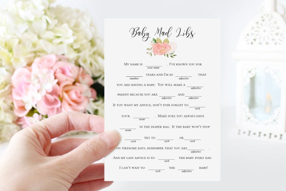 Pink Floral Baby Mad Libs Game Template, Baby Girl Shower Printable 100% Editable, Templett PPB0230