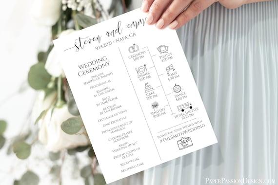 Wedding Icon Timeline and Program, Wedding Word Search, Editable Program, Wedding Ceremony, Corjl, Instant Download  PPW0550