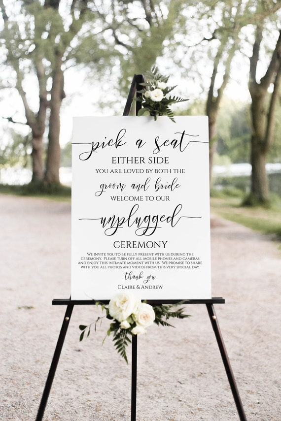 Pick a Seat Unplugged Wedding Ceremony Sign, No Pictures, No Photos Please, Wedding Welcome Sign Template 100% Editable, Templett PPW0550