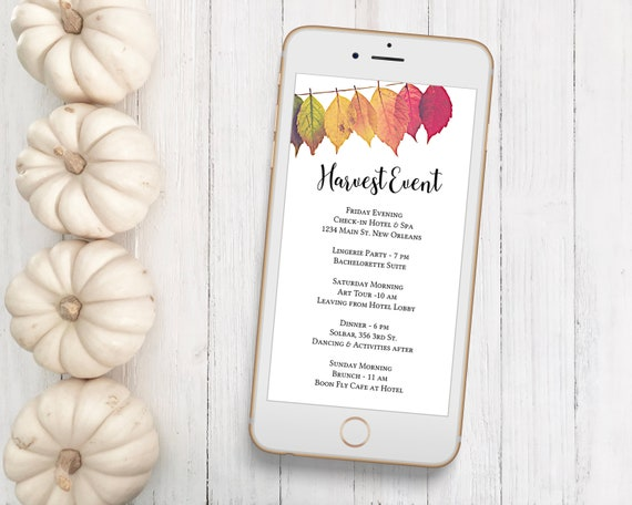Itinerary, Fall Leaves Electronic Timeline, Autumn Editable Agenda, Thanksgiving Timeline, Event Schedule Template HARVEST-2021A