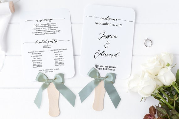 Wedding Fan Program, Wedding Ceremony Order of Events,  Elegant Calligraphy, 100% Editable Template, Corjl PPW16 MAE