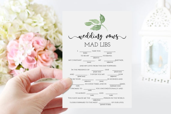 Mad Libs Bridal Shower Game, Wedding Vows, Green Foliage Tempolate, Greenery Design, 100% Editable, Templett PPW0480