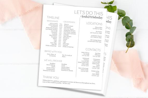 Wedding Party Timeline, Printable Wedding Day Schedule, Groomsmen Itinerary, Bridesmaid Agenda 100% Editable PPW0500