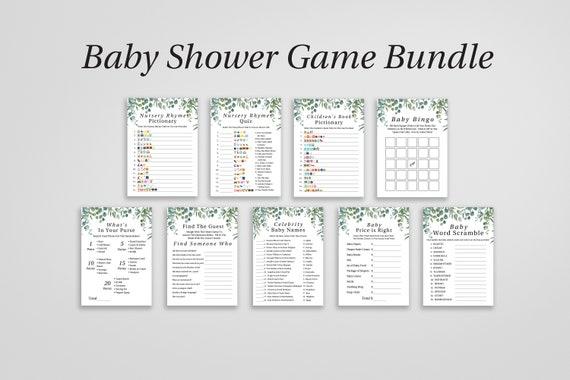 Greenery Baby Shower Game Bundle, Bingo, Price is Right, Emoji Picitonary, Baby Shower Printable 100% Editable, Templett PPB0440