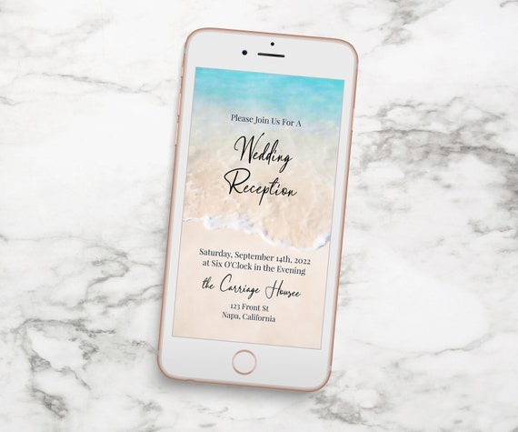 Electronic Wedding Reception Card Template, Email, Text Message, Tropical Wedding, Ocean Wave, Blush, Blue Printable Editable PPW20 BREE