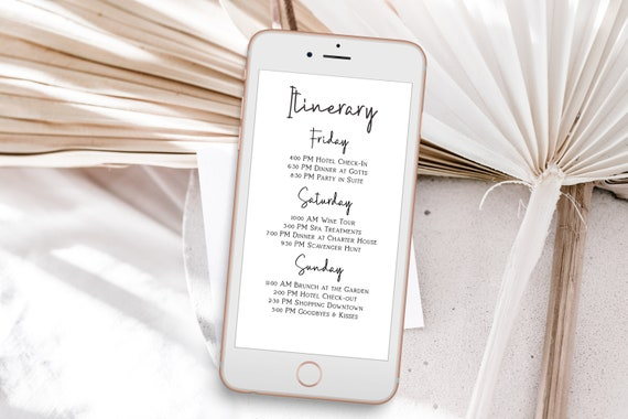 Itinerary, Bachelorette, Wedding, Family Reunion, Electronic Schedule, Email Itinerary, Editable Text, Editable, Corjl PPW508