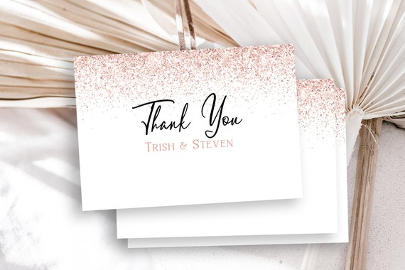 Pink Glitter Thank You Card Template, Blush Sparkle Bridal Shower, Bachelorette Party, Wedding Thank You Careds PPW90 PPW92