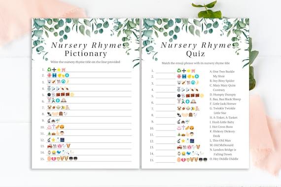Emoji Nursery Rhyme Quiz ~ Greenery Eucalyptus  Baby Shower Game ~ Green Foliage Gender Neutral Theme ~ Printable Game PPB0440