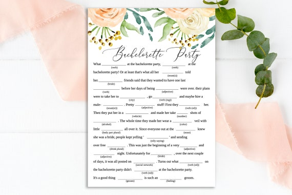 Blush Floral Mad Libs Bachelorette Party Game, Editable Wedding Template, 100% Editable, Instant Download, Templett  PPW0225