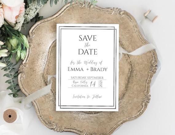 Save the Date, Simplistic Modern Silver, Wedding Announcement, Foil Silver Framed Card, Editable WeddingTemplate, Corjl PPW-NY21S