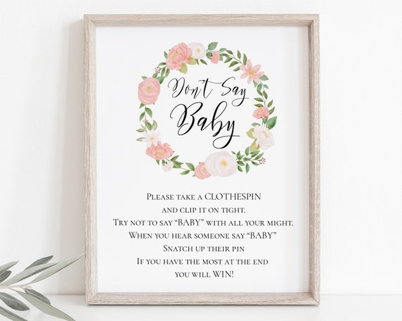 Pink Floral Don't Say Baby Sign Template, Baby Girl Shower Game Printable 100% Editable, Templett PPB0230