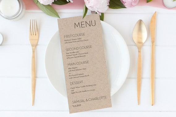 Wedding & Event Menu Card Template,  Elegant Simple Design, Table Decor Display, 100% Editable Template, Templett PPW0500
