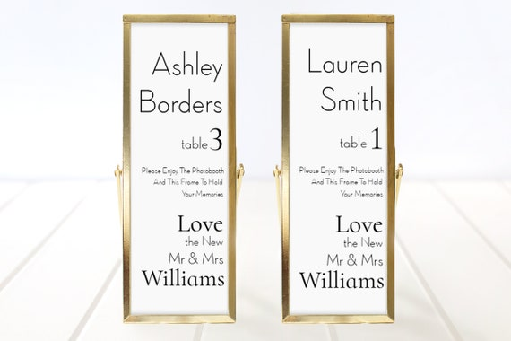Photo Booth Place Card Frame Insert Template, Minimalist Elegant Design, Wedding Favor 100% Editable, Templett PPW0500