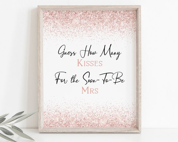 Pink Guess How Many Kisses Sign and Card Template, Rose Gold Glitter Bridal Shower, Bachelorette Party Bach Weekend Activity PPW90 PPW92