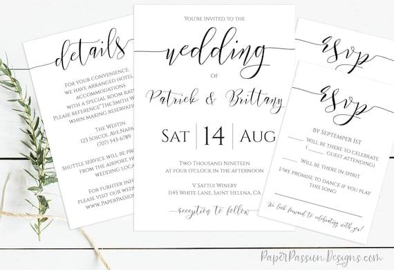 Wedding Invitation Suite, Wedding Minimalist Invite, RSVP Card, Details Card, Envelope Template 100% Editable, Templett PPW0550