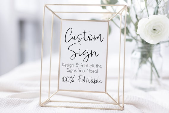 Custom Sign, Personalized Sign, Wedding, Shower, Bridal, Baby Template 100% Editable Template, Templett PPW0580