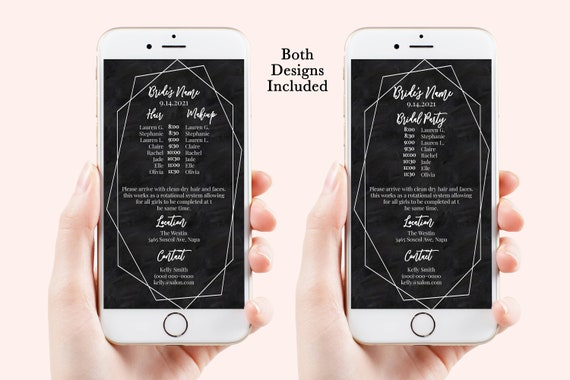 Wedding Party Hair & Makeup Timeline, Electronic Itinerary, Chalkboard Evite, Digital, Text Message, 100% Editable, Corjl Videre-N1w