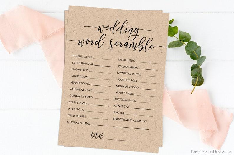 Wedding Word Scramble Template Bridal Game Activity Rustic image 0
