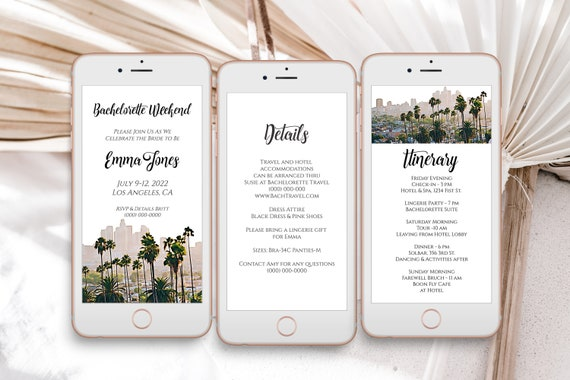 Los Angeles Oil Painting Electronic Invitation Template, Evite, Hen Party, Bridal Shower, Details, Itinerary PPW56 TINSEL