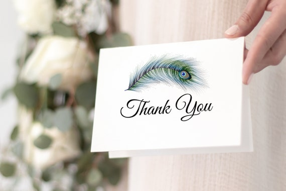 Peacock Feather Thank You Card, Celebration of Life, Funeral Memory Card, Editable Template Corjl PPF4