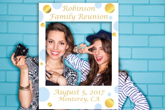 Editable Photo Prop Frame, Blue and Gold Photo Booth Prop, Baby Shower Editable Template, Instant Download PDF  BGld20