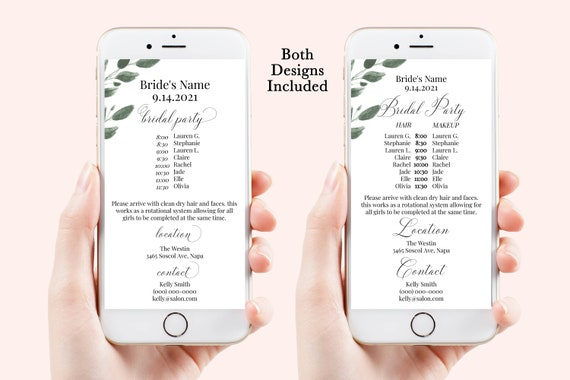 Greenery Wedding Party Hair & Makeup Timeline, Electronic Itinerary, Evite, Digital, Text Message, Editable, Corjl Videre-C4